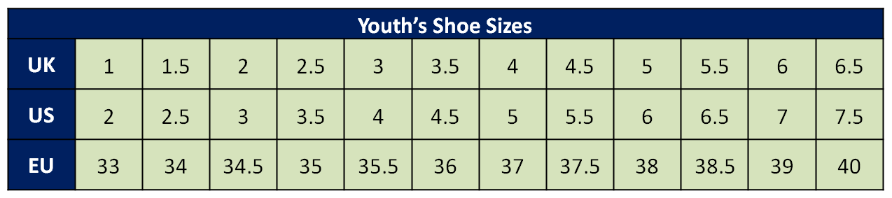 Youth's Size Conversion Chart