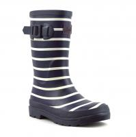 Boys French Navy Stripe Printed Wellington Boots