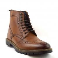 Mens Tan Brown Washed Boots