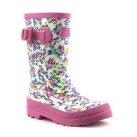 Girls White Floral Printed Wellington Boots